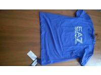 EA7 ARMANI T SHIRT MENS ROYAL BLUE CREW NECK LOGO TOP