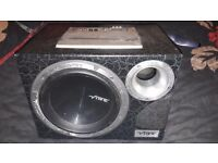 "Vibe black air 10"" sub and mono block built in amp plus wiring kit"