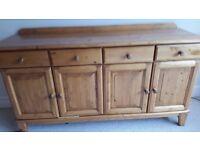 4 door pine sideboard in reasonable condition.