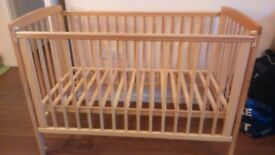 Mothercare Wooden Cot with Waterproof Matress
