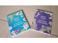 Brand New mermaid and unicorn 'keep calm' therapeutic colouring books