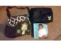 Set of two changing bags and one organic baby carrier (k'tan)
