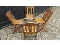 Decorative folding hardwood chairs x4