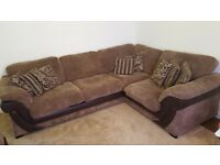 5 Seater Divine DFS Mocha Corner Sofa with 8 cushions and Storage pouffe