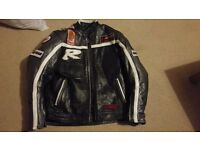 Black motorcycle leather jacket - Small adult