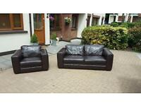 3 seater sofa and armchair in brown leather in very good condition £225