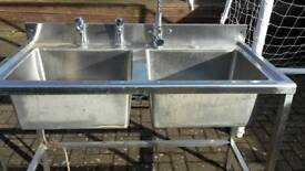 Stainless steel double sink unt