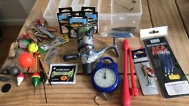 Fishing bundle with a Catana Reel, Highlander bag, Fishing storage box, spinners, hooks & more