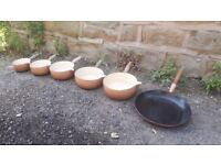 Set of 6 Six Le Creuset Pans Sauce & Large Frying Pan Vintage Brown