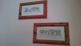 PAIR OF DOG PICTURES IN PINE FRAMES