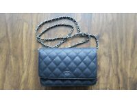 New CHANEL Black Caviar Leather WOC Wallet On Chain Bag With Silver Hardware £160