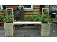 Garden bench with trellis