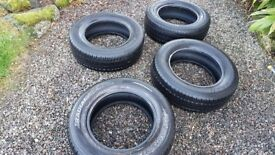 4 almost new Hancook 215/65R 16C car/van tyres
