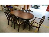 Mahogany dining table and 6 chairs (2 carvers)