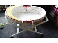 Moses basket with mama and papas white stand