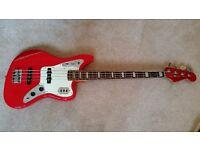 Red Fender Jaguar Bass Guitar Japanese 04/05 model + Flight case