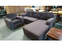 Brown corner sofa with matching chair