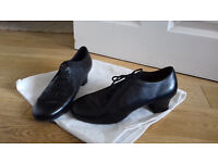 Black Leather Latin Dance Shoes Continental Size 42 With cuban Heel and Felt Soles.