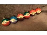 Selection of personalised named baubles with tags