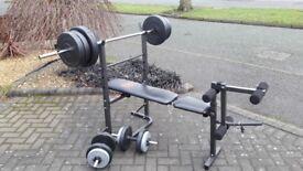 FOLDAWAY PRO POWER WEIGHTS BENCH & 55KG & BARS