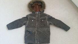 Boys winter coat MOD style khaki age 3 years fur lined vgc
