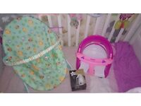 Baby bouncer, Tommee Tippee bottle warmer and bath seat