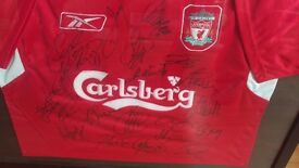 Signed liverpool jersey by 2005 team