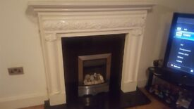 Gas fire with white surround