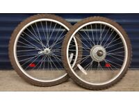 "2 x 24"" cycle wheels with tubes and tyres"
