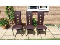 Dining Table Brown Leather Chairs - Collection Only