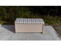 Lovely, Teak Blanket Box/Ottoman with Seat. Shabby Chic, Pale Cream. Nationwide Delivery Available.