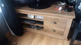 Oak effect tv unit with 2 drawers