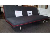 Ex Display Made Miki Sofa Bed in Cygnet Grey With Red Piping **CAN DELIVER**