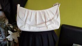 Cream silk effect occasion bag