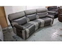 NEW ScS RALPH 4 SEATER MANUAL RECLINER CURVED SOFA GREY  RRP £1,799 **CAN DELIVER**