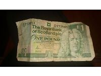 One pound scottish banknote for sale