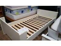 White Single Bed ( new, 2 available )