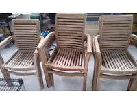 9 teak wooden garden armchairs very nice condition