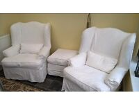 2 x John Lewis Tetrad armchairs, cushions and footstool plus additional covers
