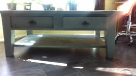 Coffee Table, thick quality oak, Annie Salon painted (green) a few years ago