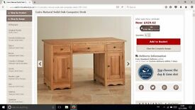 Computer / Study Desk of Natural Solid Oak with Draws, Cupboards