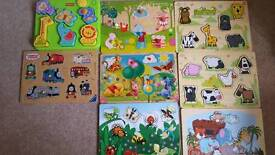 Assorted Wooden Puzzles x9