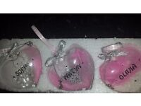 personalised Christmas baubles with any name Taking orders hearts £5 large ones £8