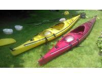 Chinook Aquaterra Kayak x 2 (one red canoe and one yellow canoe)