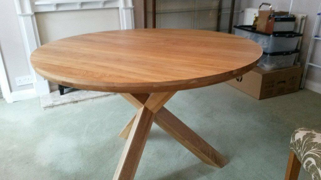 Trinity natural solid oak round table with crossed legs and 4 x dining room chairs in abingdon - Crossed leg dining table ...