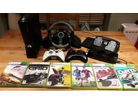 XBox 360 with Steering Wheel, Pedal and Games