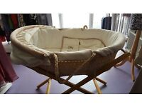 Mamas & Papas wicker moses basket with stand
