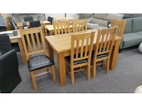 Julian Bowen Astoria Extending Oak Dining Table & 6 Astoria Dining Chairs Can Deliver