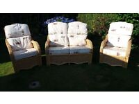 Cane sofa and chairs conservatory