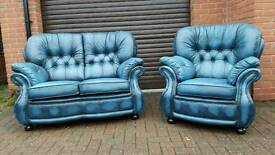 Chesterfield style blue leather sofa and chair. EXCELLENT CONDITION! BARGAIN!